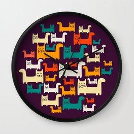 City Of Kitties Pattern Wall Clock