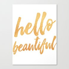 Hello Beautiful - Gold Typography Canvas Print