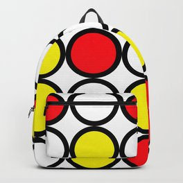 Abstract circle pattern grid with red and yellow colours Backpack
