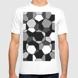 Retro Rocks - 50 Shades Of Grey - Abstract, black and white, hexagonal pattern T-shirt
