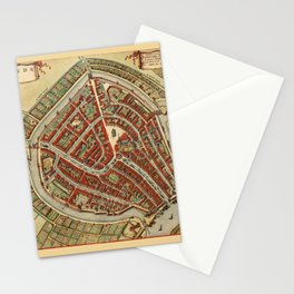 Map Of Gouda 1650 Stationery Cards
