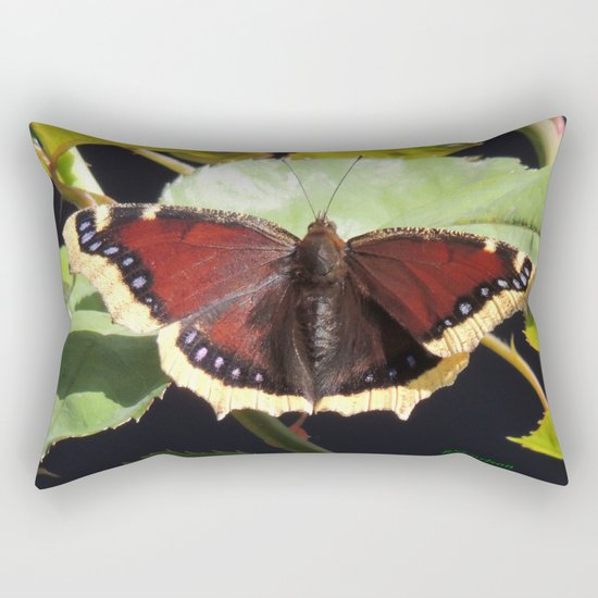 Mourning Cloak Butterfly at Rest on a Rose Leaf Rectangular Pillow