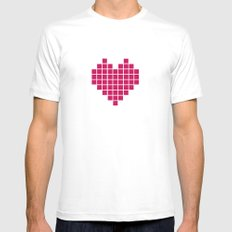 Pixelated Heart MEDIUM White Mens Fitted Tee