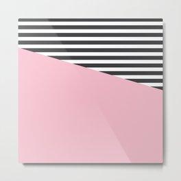 Pink & Gray Stripes Metal Print