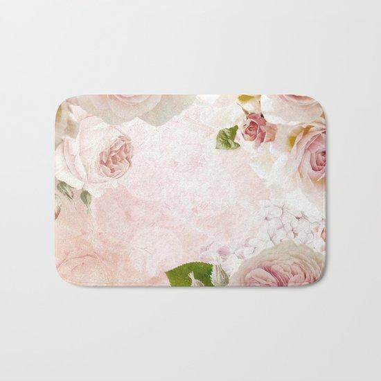 Vintage Flower Pink English Roses Collage Bath Mat