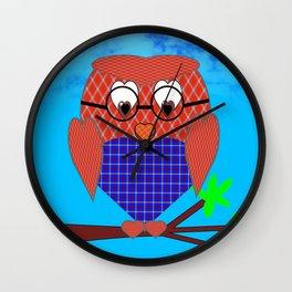 Tartan and Hearts Owl Wall Clock