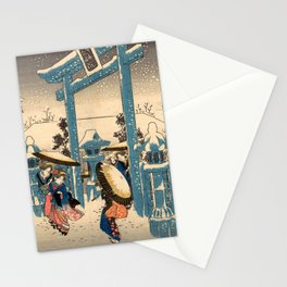 The Gion Shrine in Snow Stationery Cards