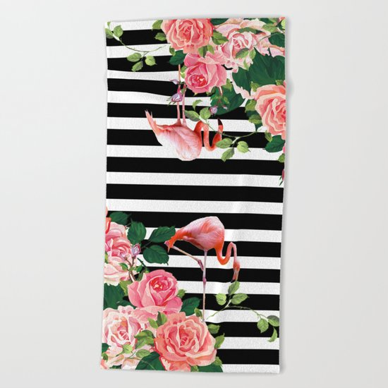tropical flamingo Beach Towel