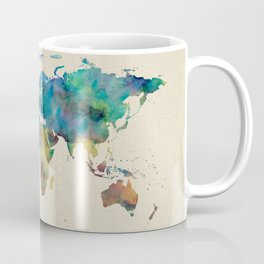 World Map Watercolor Linen Blue Red Yellow Green Coffee Mug
