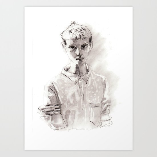 Girl Short Hair and  Shirt Art Print