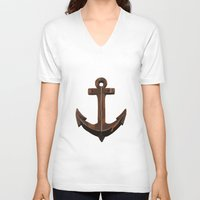 anchors V-neck T-shirts featuring Anchors Away! by eMJay Digital Art