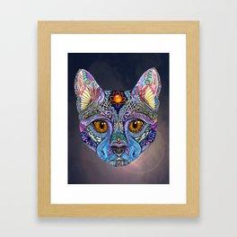 Mystic Psychedelic Cat Framed Art Print