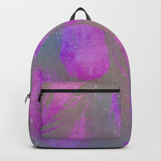 pink watercolor feather pattern Backpack