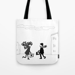 two people carrying love Tote Bag
