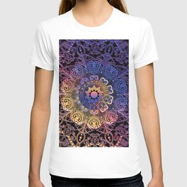 Purple, yellow, pink mandala hand drawn on black background filling the whole frame in abstract, artistic design.  T-shirt