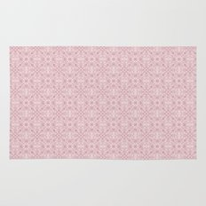 Pink on Pink Gothic Ornate Diamond and Rosette Stained Glass Tile Pattern Rug