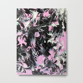 Fluid Acrylic (Black, white and pink) Metal Print