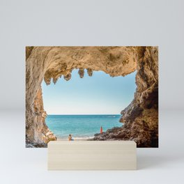 Stunning cave in the seacoast of Palinuro Cilento Italy Mini Art Print