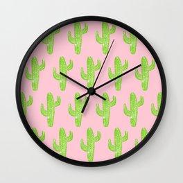 Linocut Cacti Minty Pinky Wall Clock