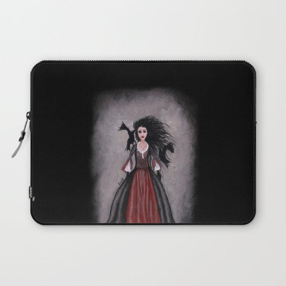 Little Black Haired Girl + Crows Laptop Sleeve LSV905958