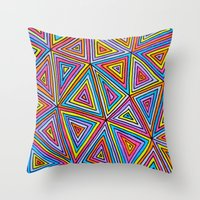triangle Throw Pillows featuring Triangle by Neon Wonderland