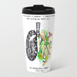 The Invincible Summer in Every Breath - Albert Camus quote Travel Mug