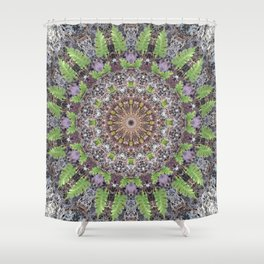 Natural elements in forest mandala Shower Curtain