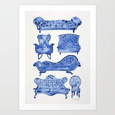 Victorian Lounge – Navy Palette Art Print