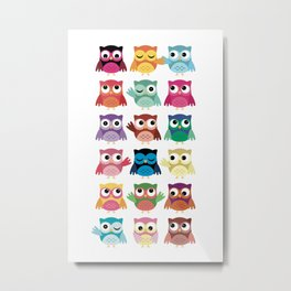 Cute Owl Lucy Multicolore Metal Print