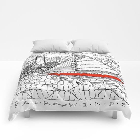 Sailors Dream Fair Winds Sailboat Zentangle Comforters