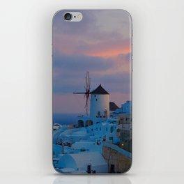 Santorini, Oia Greece, Windmill Sunrise iPhone Skin