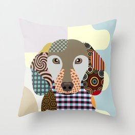 Dachshund Dog Pop Art Cubism Throw Pillow