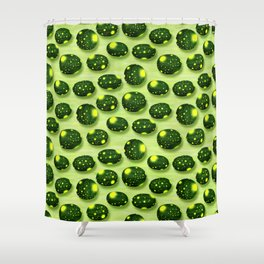 Home Grown Moon and Stars Watermelon Shower Curtain