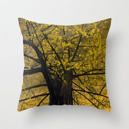 Fall Yellow Tree Painting Throw Pillow