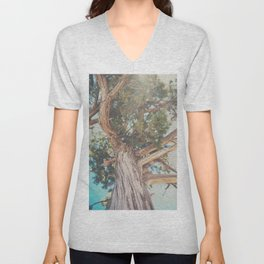 looking up through the leaves of the Juniper Tree ... Unisex V-Neck