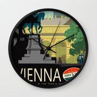 vienna Wall Clocks featuring Visit Vienna by Duke Dastardly