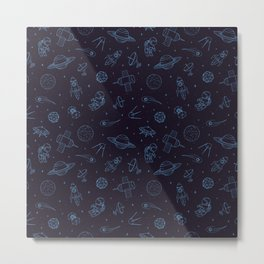 Blue Space Pattern Metal Print