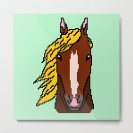 Horse with yellow hair Metal Print