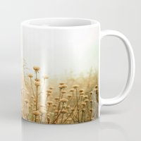 aqua Mugs featuring Daybreak in the Meadow by Olivia Joy StClaire