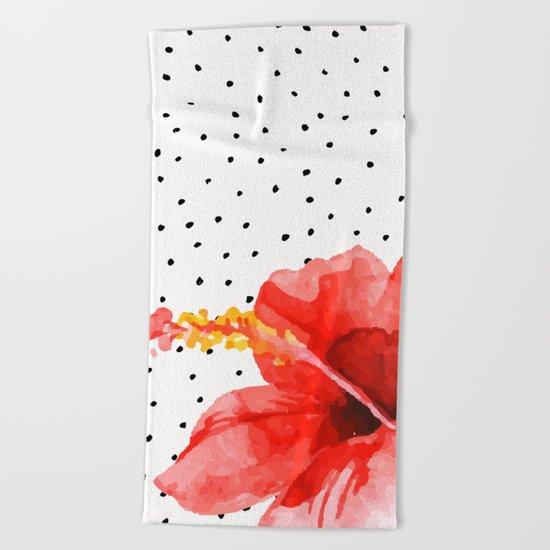 Tropical flower on dots Beach Towel