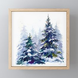 Watercolor winter fir forest Merry Christmas Framed Mini Art Print