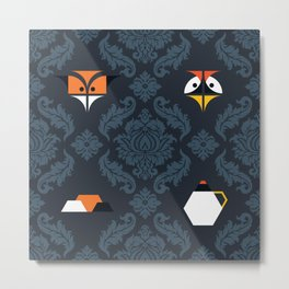 THE FOX & THE CRANE Metal Print