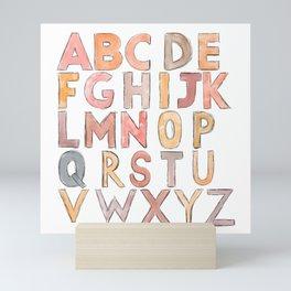 Alphabet Warm Tones Back To School Art Mini Art Print