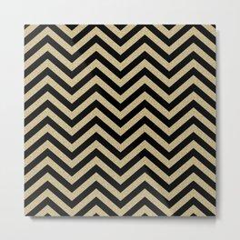 Black And Gold Chevron Pattern Metal Print