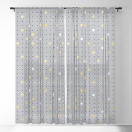 Pin Points Grey, Gold and White Sheer Curtain