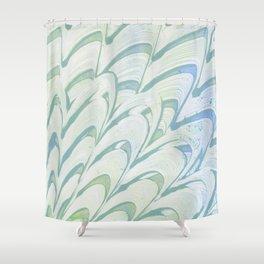 Blue Grey Fanning Shower Curtain