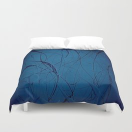 Pollock Inspired Blues Party Duvet Cover