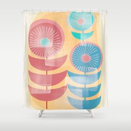 Three Flowers in Retro Style Shower Curtain