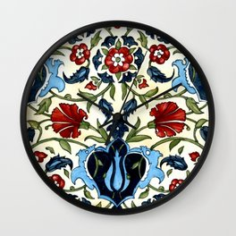 Tile with Carnations Wall Clock