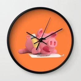 Rosa the Pig drawing Wall Clock